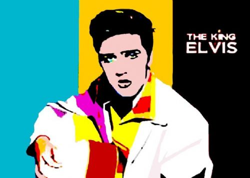 ELVIS PRESLEY - POPART - Stripes canvas print - self adhesive poster - photo print